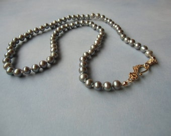 Silver grey platinum fresh water pearls AA 5mm / 0.19'' , hand knotted silk cord necklace.