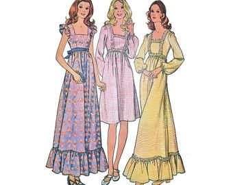 1970s Pinafore Dress Pattern Square Neck High Waist Summer Sleeveless Prairie Maxi Smock Dress McCalls 3131 Bust 34 Vintage Sewing Pattern