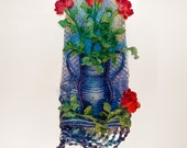 Macrame Wall Hanging 'Vase of Roses' - Handmade with hemp string