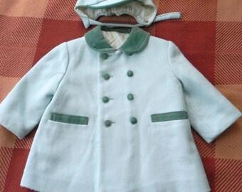 Vintage 50s Kids Blue Wool Coat And Hat Set With Velvet Trim - on sale