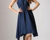 Dark blue linen cute dress (877)