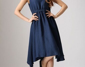 Dark blue linen cute dress (877)