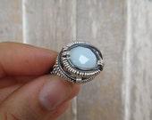 Gunmetal Silver smokey White Glass Wire Wrap Ring (R55)