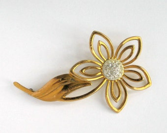 60s Brooch Pin Large Rhinestone Openwork Flower Vintage 1960s Costume Jewelry
