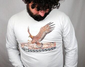 Vintage 1988 Aztec Native Long Sleeve Tee Shirt - Bald Eagle