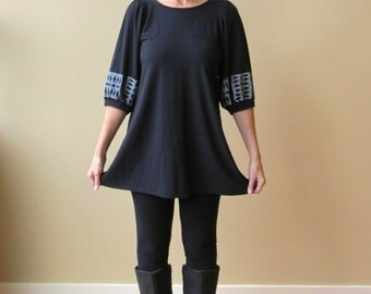 Tunic Top, Black with White Print, Puff Sleeves, Bamboo Jersey, Modern Bohemian Style- made to order