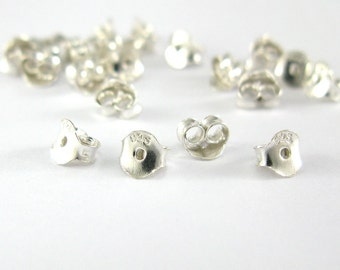 100 pairs of 3 x 5 mm 925 Silver Earring Backs, Earnut Butterfly
