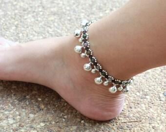 Elfin Fancy Jasper Silver Bell Anklet