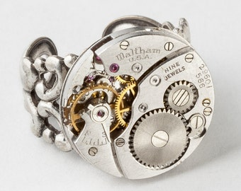 Steampunk Ring Vintage Waltham Watch Movement, Clockwork Statement Ring, Adjustable Silver Filigree Band, Cocktail Ring Jewelry Gift