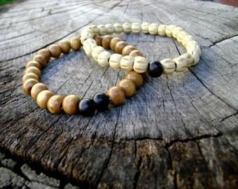 Men bracelet Natural wood coconut black and brown men bracelet Two stacking bracelets wood mens bracelets - beaded bracelets