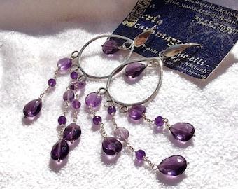"OOAK- Natural ""Rose de France""and Purple Amethyst and Sterling Silver Chandellier Earrings. Handmade by La Perla Scaramazza"