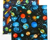 Cloth Napkins, Kids Fabric Lunchbox Napkins, Outer Space Napkins, Solar System Galaxy, Set of 2