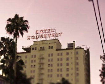 Roosevelt Hotel- Los Angeles Photography - Pink Beige - Pastel Office Decor, Hollywood, California Print