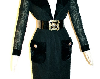 GIVENCHY COUTURE Vintage Dress Black Sheer Lace Velvet Belted Wiggle - AUTHENTIC -