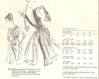 1960s Open Back Cocktail Dress Pattern - Vintage Austine La Mar R-179 - Bust 36 with Chiffon Train