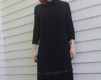 Vintage 30s Black Dress Party Pleated Long S