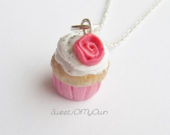 Miniature Strawberry Rose Cupcake Necklace - Kawaii Food Jewellery - Handmade in England with Fimo Clay