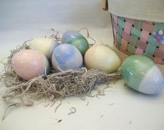 Easter Eggs -- Set of 6  Easter Eggs - Handmade on the Potters Wheel - Hollow - OOAK