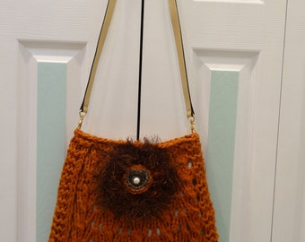KNIT  SHOULDER HANDBAG : Pumpkin / Rust, Shoulder,  hand  knitted, in a lacey pattern stitch, with beige leather shoulder strap.