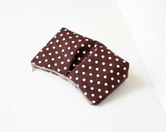 Choco Brown Polka Dots Cosmetic Make Up Bag, Travel Make Up Pouch, Bridesmaid Gift, Cosmetic Case, Zippered Purse