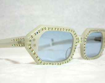 Vintage Cat Eye Glasses. Beautiful Pearl Color with AB Rhinestones and Blue Lenses.