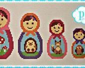 Woodland Matryoshka Set cross stitch, needlepoint pattern, Russian Dolls, Babushkas to stitch. Pdf, instant digital download epattern.