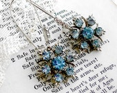 Sapphire Stars, Vintage 1950s, Midcentury Modern Light Sapphire Blue & Silver Star Rhinestone Altered Earrings by Hollywood Hillbilly
