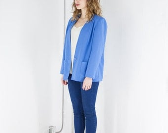 ON SALE Long Sleeve Blue Blazer / Vintage Soft Jacket / Women Pocket Vest