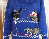 80s WOODSTOCK INTERNATIONAL--Kitten Sweater--Novelty Print of Kittens Playing with Ball of Yarn--100% Wool--Made in Hong Kong