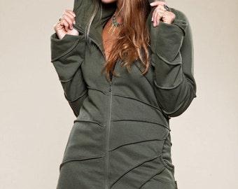 Asymmetrical Pixie Jacket - Cotton Fleece Hoodie - Women Coat - Warm Summer Jacket - women's clothing -