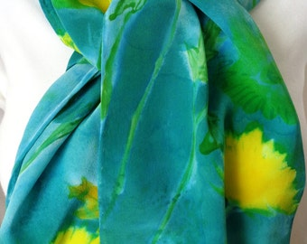 silk scarf hand painted unique Yellow Jade Mums crepe hand painted unique luxury wearable art women long scarves