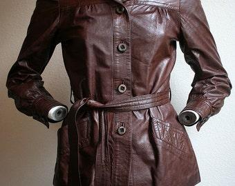1960/70's St. Sunyer for Fink designer UK bohemian soft quality leather chocolate brown waistcoat jacket - women's sz XS