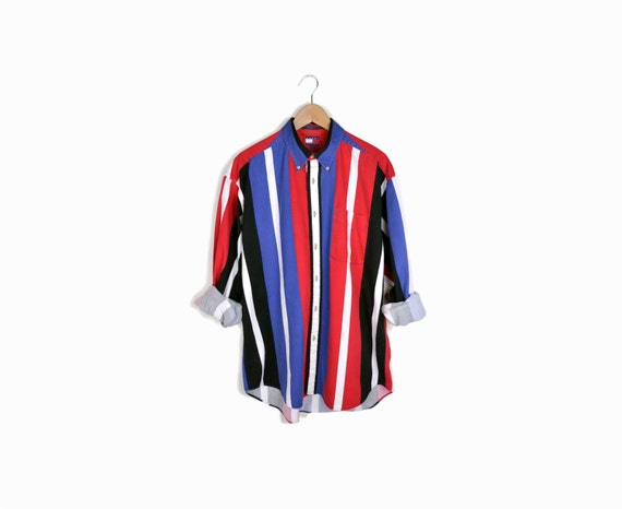 Vintage 90s red white blue striped shirt by for Red blue striped shirt
