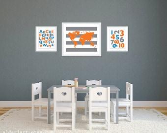 Playroom World Map Abc 123 Art Prints - Blue Orange Grey - Alphabet and Numbers Art Prints - Playroom Wall Art