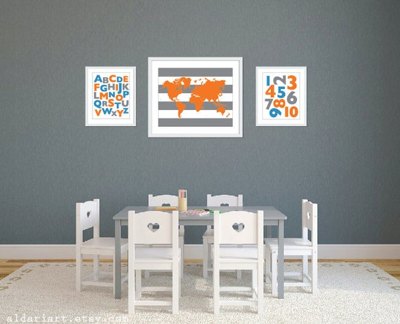 Playroom World Map Abc Art Prints Blue Orange Grey - World map for playroom
