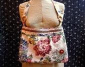 Handmade Purse or Bag, Vintage Floral Linen, Vintage Doily, Trims and Button, Cotton Lining, Snap Closure