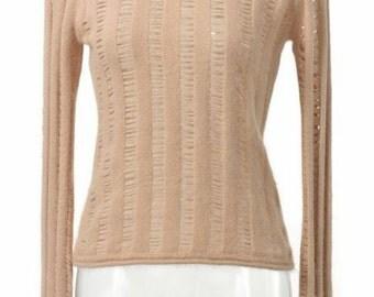Taupe Angora Peek-A-Boo Sweater