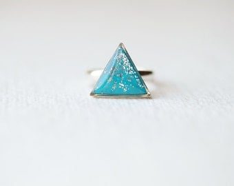 Turquoise Blue Glitter Mountain - Triangle Ring