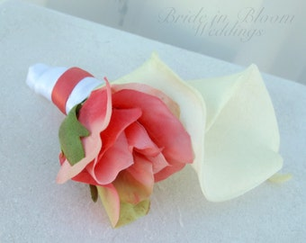 Wedding boutonniere White cream calla lily Coral rose Grooms boutonniere