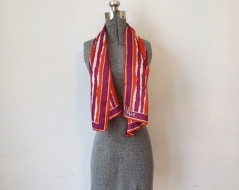 Vintage '60s Vera Neumann Hand-Painted Orange & Purple Striped Long, Skinny Scarf