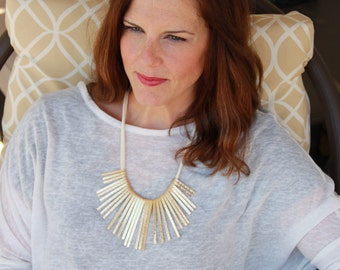 Here Comes The Sun // golden sunburst necklace // spikes // needles necklace // boho // full collar necklace // tribal // modern