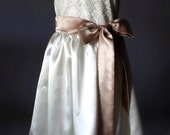Flower Girl Satin and Lace Dress, Sizes 2T-18, Ivory, Off White, Wedding, Easter, Birthday, Princess