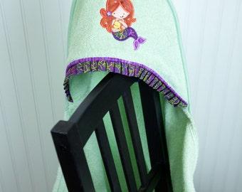 mermaid hooded beach bath pool towel infant or toddler girl gift appliqued personalized towel