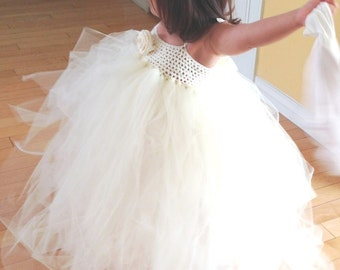 Flower Girl Dress, Flower Girl, Tutu Dress, Flower Girl Tutu, Tulle Dress, Ivory Flower Girl Dress, Tulle Tutu Dress, Crochet Dress, Wedding