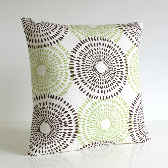 Green and Brown Pillow Cover, 16 Inch Pillow Cover, 16x16 Pillow Cover - Sunburst Chocolate