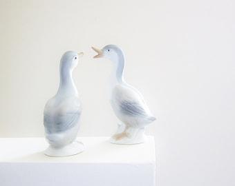Ducks Geese Collectibles - Figurine Set - Vintage OTAGIRI Japan - Porcelain Birds - Gift Idea For Bird Lover Or Naturalist - Pale Blue Gray