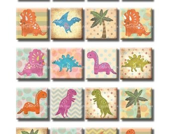 Cute dinosaurs 1 inch squares printable digital collage sheet. Digital download images for kids magnes, pendants. Happy dinos printables