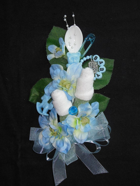 baby shower corsage baby boy washcloth corsage blue baby boy new