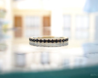 Sale - Stackable Black Eternity Ring, Black Stones Infinty Ring, Black Infinity Band, Stones Go HALF Way Around, Gold Infinity Wedding Ring