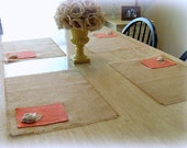 Burlap Placemats, Coral Pockets with Rosettes